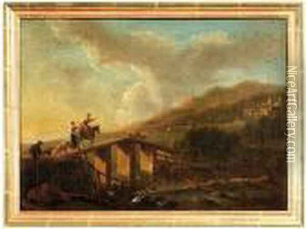 A Bridge And Shepherds Oil Painting - Jan Asselyn