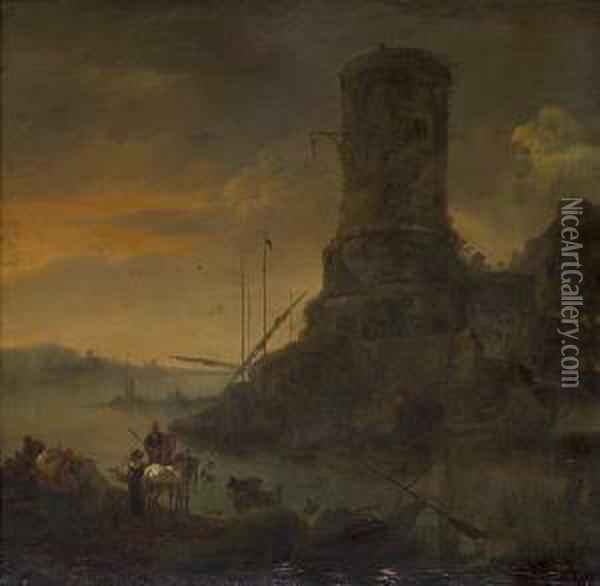 A Mediterranean Capriccio With A Grey Horse And Figures In The Foreground Oil Painting - Jan Asselyn