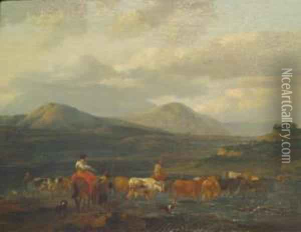 Drovers Forging A River Oil Painting - Jan Asselyn