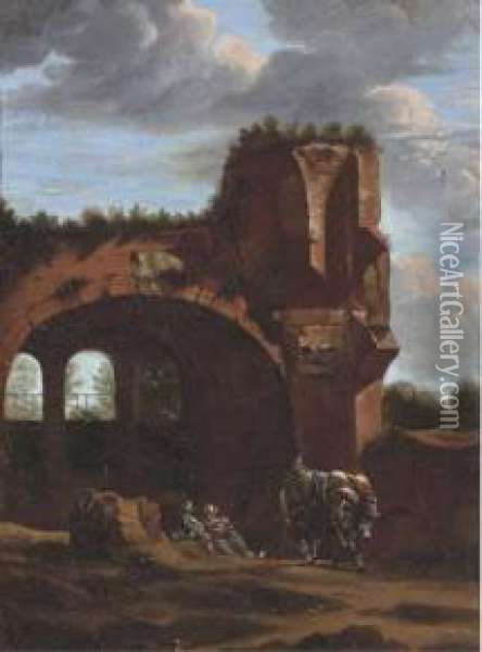 An Italianate Landscape With Travellers Oil Painting - Jan Asselyn