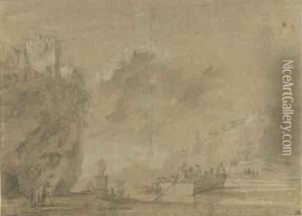 An Italianate Landscape With A Ferry Crossing Oil Painting - Jan Asselyn