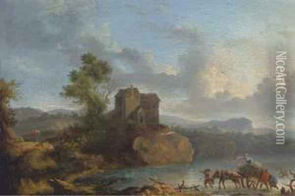 A Landscape With Travellers Crossing A Ford, A House Beyond Oil Painting - Jan Asselyn