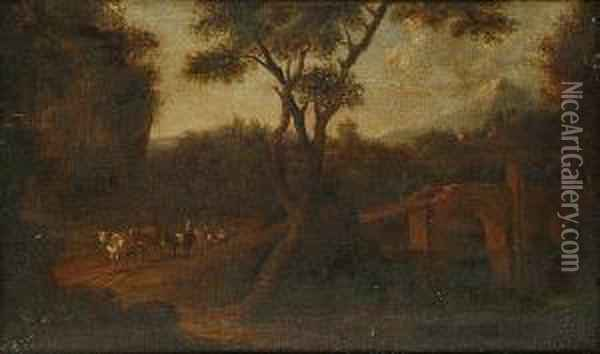Landscape With Mules On A Track Oil Painting - Jan Asselyn