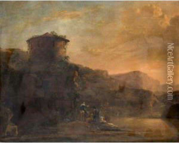 An Italianate Landscape With Travellers And A Cattle Crossing A River At Sunset Oil Painting - Jan Asselyn