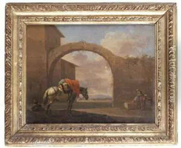 A Packhorse In A Courtyard Oil Painting - Jan Asselyn