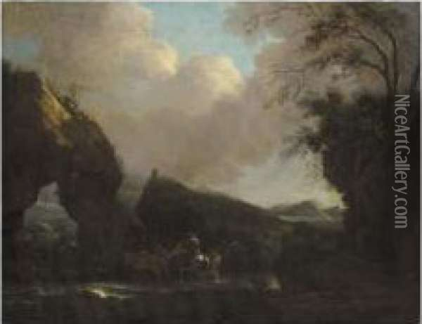 A Southern Landscape With Drovers And Animals Crossing A Stream Near A Rocky Arch Oil Painting - Jan Asselyn