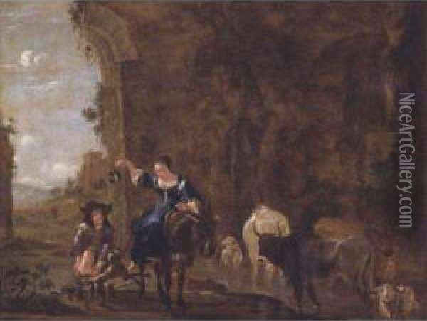 Herdsmen With Animals In A Landscape Oil Painting - Jan Asselyn