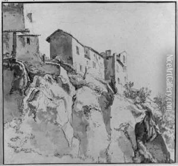 Italianate Houses On A Cliff Oil Painting - Jan Asselyn