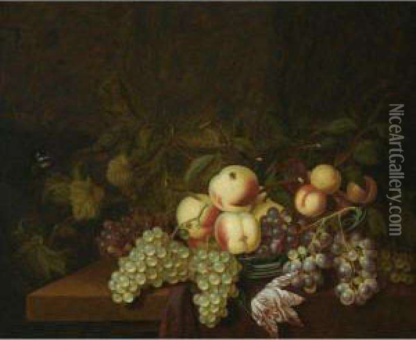 Still Life Of Peaches And Grapes  In A Wan-li Porcelain Bowl, Together With A Butterfly, All Arranged On A  Table Partly Draped With A Red Cloth Oil Painting - Bartholomeus Assteyn