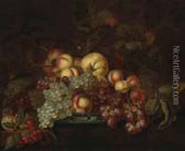 A Still Life With Grapes,  Peaches And Other Fruit In A Porcelain Dish On A Partially-draped Table Oil Painting - Bartholomeus Assteyn