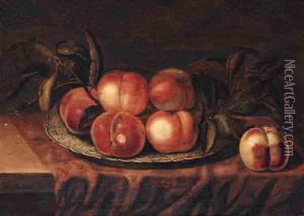 Peaches On A Porcelain Dish, On A Partially Draped Ledge Oil Painting - Bartholomeus Assteyn
