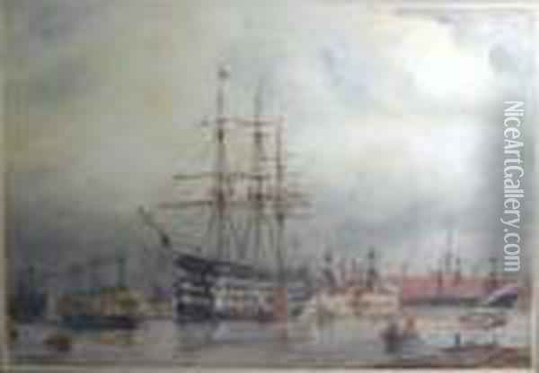 'hms Victory In Portsmouth Harbour', Watercolour, Signed, 53.5cm X66.5cm, Framed Oil Painting - William Edward Atkins