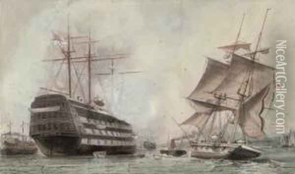 H.m.s. Victory Lying On Her Permanent Mooring In Portsmouth Harbour Oil Painting - William Edward Atkins