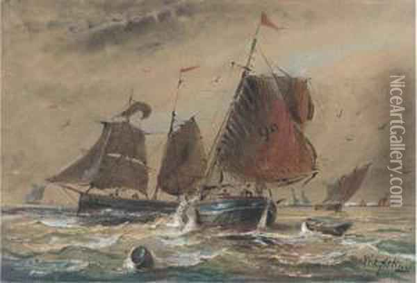 Fishing Boats In Close Quarters In The Channel Oil Painting - William Edward Atkins