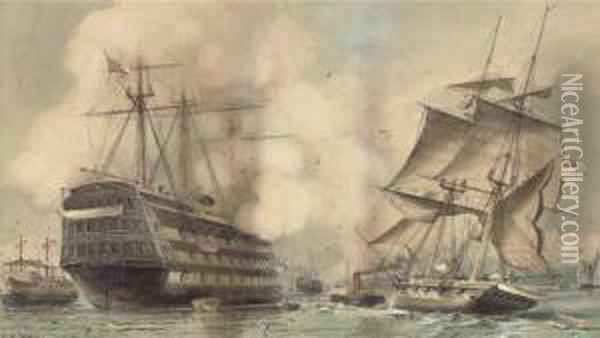 H.m.s. Victory Saluting A Royal  Navy Brig Being Towed Past The Oldflagship's Permanent Mooring Into  Portsmouth Harbour Oil Painting - William Edward Atkins