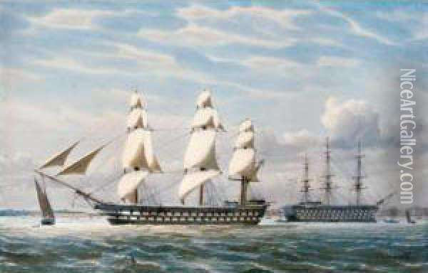 H.m.s.edgar Leaving Portsmouth, April 1865 Oil Painting - William Edward Atkins