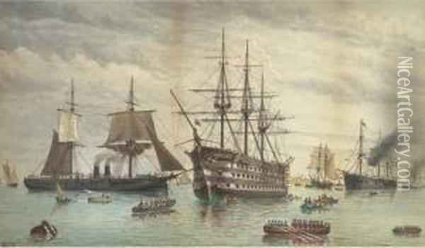 H.m.s. Victory Amidst Ironclads Lying At Anchor In The Harbour,portsmouth Oil Painting - William Edward Atkins