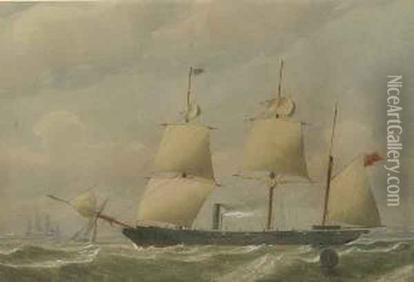 An 8/12-gun Sloop Of The Royal Navy Heaving-to For An Approaching Cutter Oil Painting - William Edward Atkins