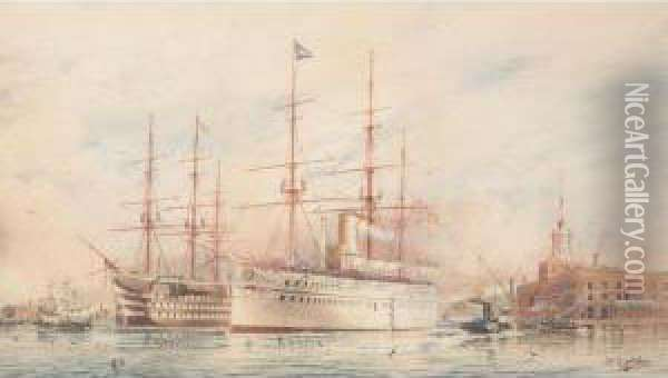 H.m.transport Serapis At Portsmouth Oil Painting - William Edward Atkins
