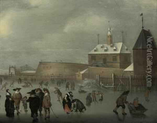 A Winter Landscape With Skaters  And Kolf Players On The Ice, A House And A Viewing Point Beyond Oil Painting - Hendrick Avercamp