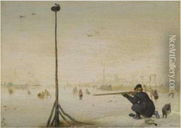 Winter Landscape With A Hunter Shooting Duck At The Edge Of A Frozen Waterway Oil Painting - Hendrick Avercamp