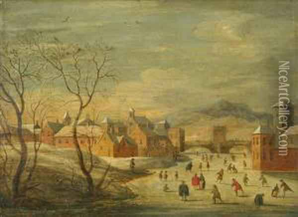 Winter Landscape With Kolf Players And Skaters On A Frozen River Before A Town Oil Painting - Hendrick Avercamp