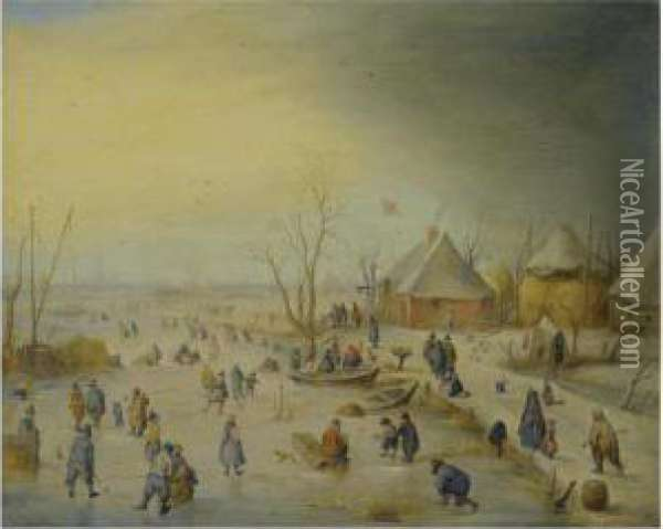 A Winter Landscape With Kolf  Players, Skaters And Numerous Otherfigures On A Frozen River Near An  Inn, An Extensive Landscapebeyond Oil Painting - Hendrick Avercamp