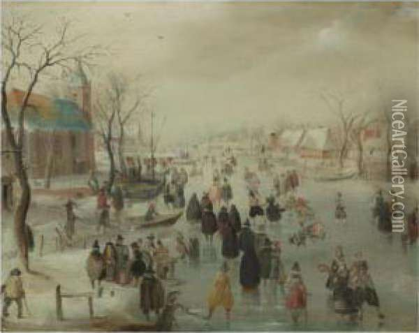 An Extensive River Landscape With Numerous Skaters Before Achurch, A Village Beyond Oil Painting - Hendrick Avercamp