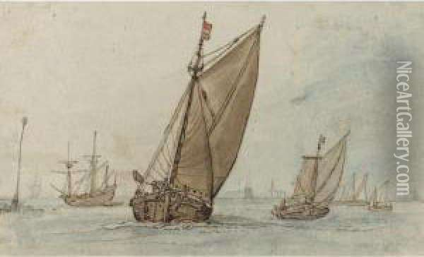 Small Vessels On A Calm Sea, With A Jetty To The Left And A Town On The Horizon Oil Painting - Hendrick Avercamp