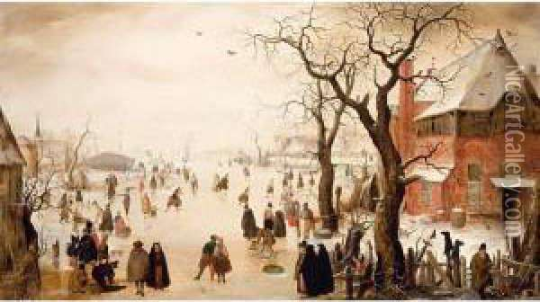A Winter Scene With Many Figures Skating On A Frozen River Oil Painting - Hendrick Avercamp