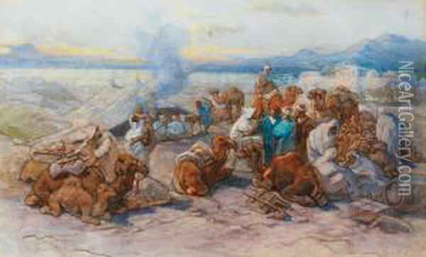Un Campement Arabe Oil Painting - Guido Bach