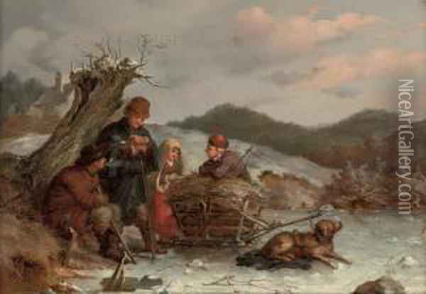A Rest On The Way, Summer; And A Rest On The Way, Winter Oil Painting - Guido Bach