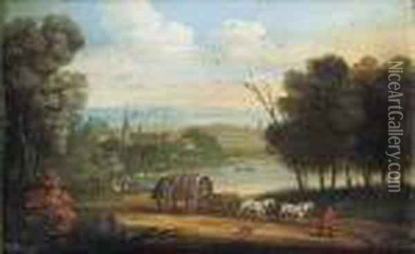 A Horsedrawn Wagon On A Track In An Extensive River Landscape Oil Painting - Marc Baets