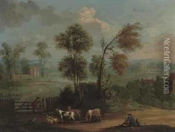 An Extensive Landscape With Herdsman And Their Cattle On A Track Oil Painting - Marc Baets