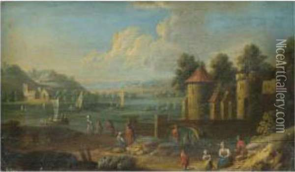 An Extensive River Landscape With Figures Resting By A Fortification In The Foreground Oil Painting - Marc Baets