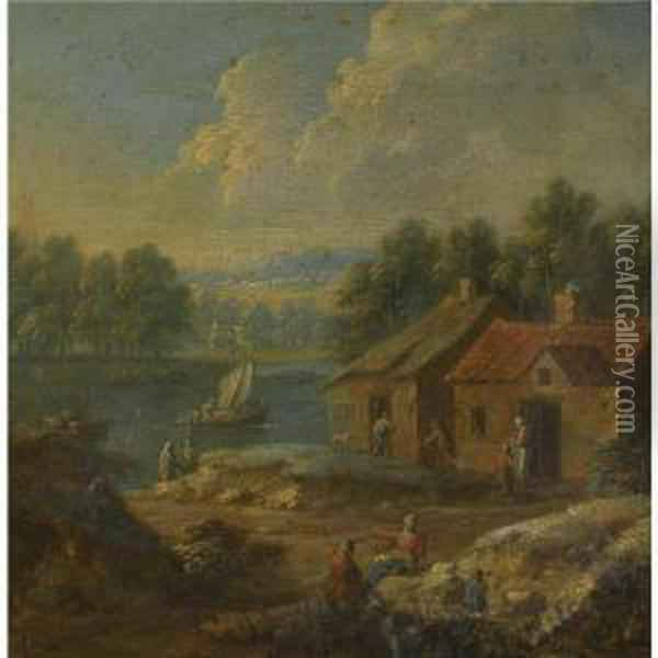 A River Landscape With Figures Conversing Before A Cottage Oil Painting - Marc Baets