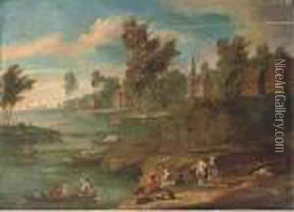 A River Landscape With Figures At Rest On The River Bank Oil Painting - Marc Baets