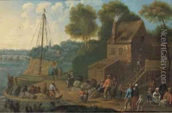 A River Landscape With Merchants Oil Painting - Marc Baets