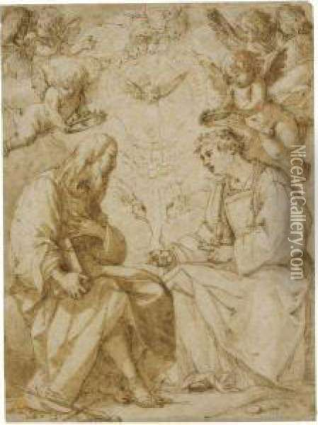 Saint Paul And Saint Stephen Crowned By Angels Oil Painting - Giovanni Baglione