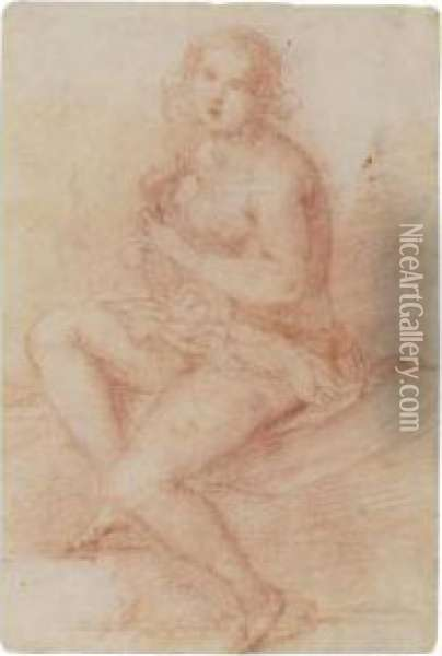 Nude Seated Woman Playing A Lute Oil Painting - Giovanni Baglione