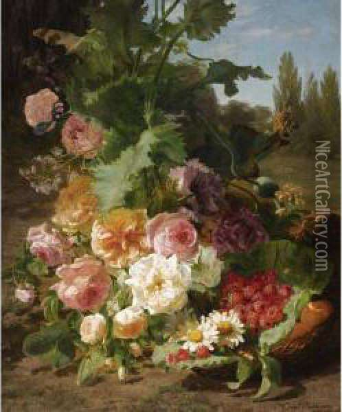 A Still Life With Roses, Daisies, Raspberries And Peaches In Alandscape Oil Painting - Geraldine Jacoba Van De Sande Bakhuyzen