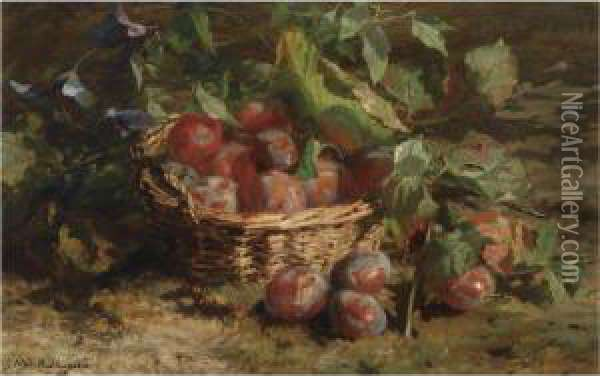 A Still Life With Plums In A Basket Oil Painting - Geraldine Jacoba Van De Sande Bakhuyzen