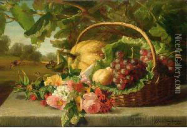 A Still Life With Flowers, Grapes And A Melon Oil Painting - Geraldine Jacoba Van De Sande Bakhuyzen