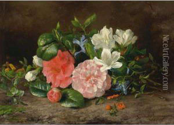 A Flower Still Life With Roses And Hellebore Oil Painting - Geraldine Jacoba Van De Sande Bakhuyzen