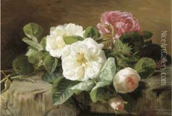 Pink And White Roses Oil Painting - Geraldine Jacoba Van De Sande Bakhuyzen
