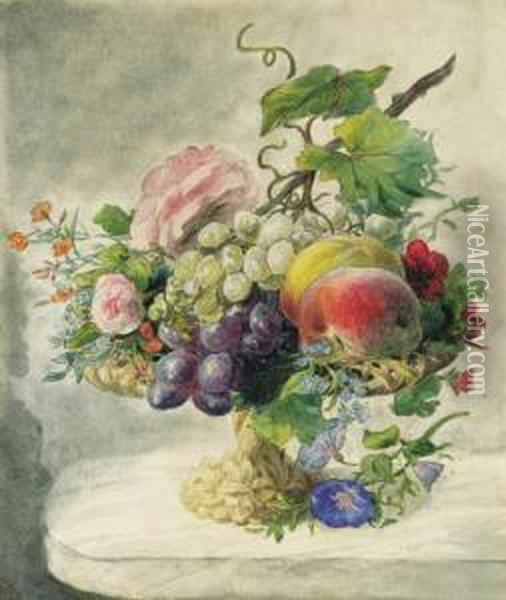 A Still Life With Peaches,  Grapes, Roses, Morning Glory,forget-me-not, Pelargonium And Other  Flowers On A Fruitstand Oil Painting - Geraldine Jacoba Van De Sande Bakhuyzen