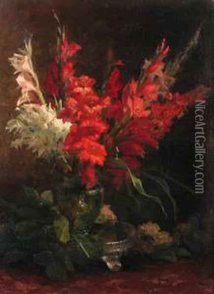 A Still Life With Gladioli And Roses Oil Painting - Geraldine Jacoba Van De Sande Bakhuyzen