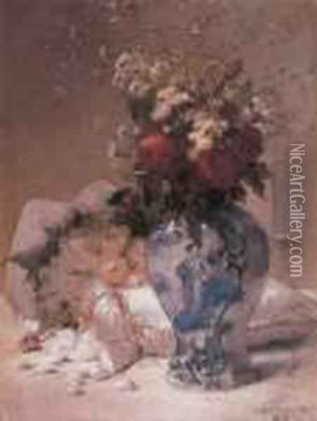 Wedding Bouquet Oil Painting - Jules Frederic Ballavoine