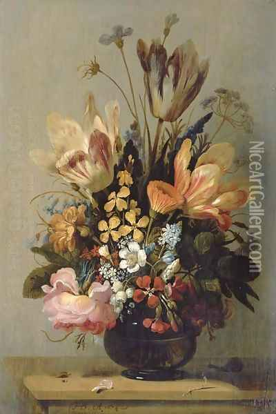 Tulips, a rose, bluebells and other flowers in a glass vase on a wooden ledge, with a snail and a caterpillar Oil Painting - Hans Bollongier