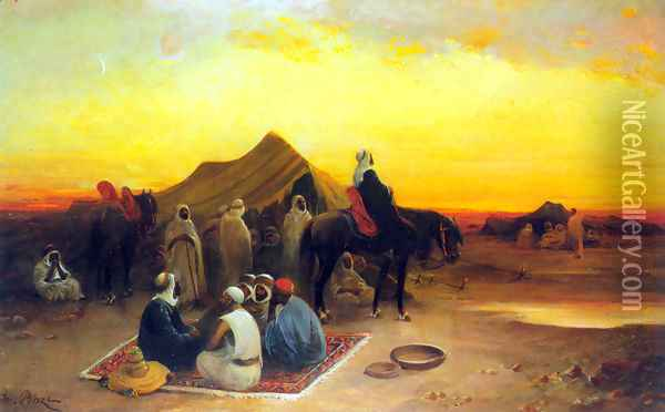 At the oasis Oil Painting - Honore Boze